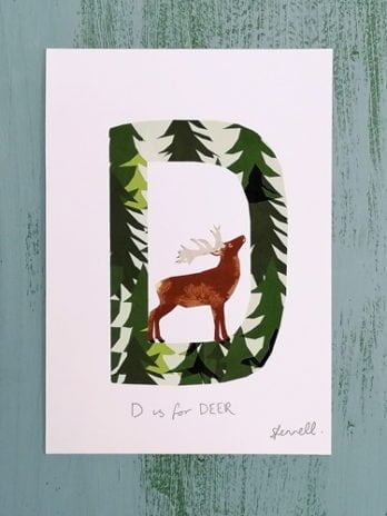D is for Deer A5 Print