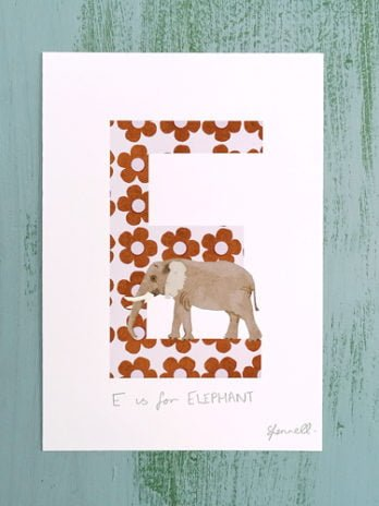 E is for Elephant A5 Print