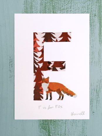 F is for Fox A5 Print