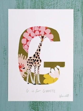 G is for Giraffe A5 Print