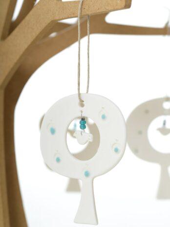 Rhian Winslade Oval Tree & Unglazed Bird Hanging Decoration