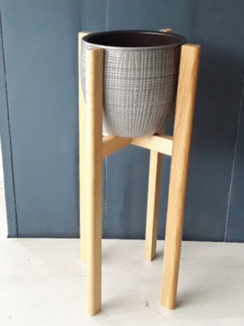 50cm Oak Plant Stand Grey Pot