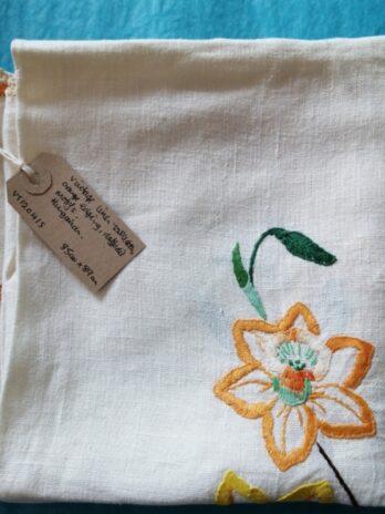 Linen Tablecloth, Orange Edging, Daffodil Motifs – 85cm X 89cm