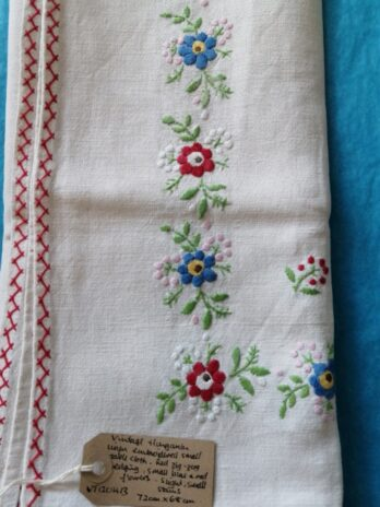 Hungarian Linen Small Table Cloth, Small Blue Red Flowers, Red Zig-zag Edging, Slight Small Stains – 72cm X 68cm