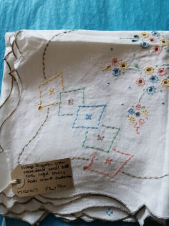Hungarian Cotton Embroidered Small Table Cloth, Pastel Colour Embroidery – 83cm X 86cm