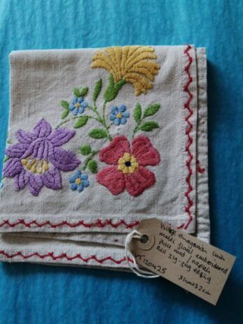 Hungarian Linen Multi Floral Embroidered Place Mat/Napkin, Red Zig-zag Edging