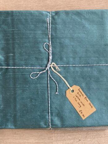 Fabric Remnant – Peacock Blue Silk Slub