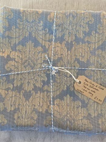 Fabric Remnant – Grey & Gold Damask
