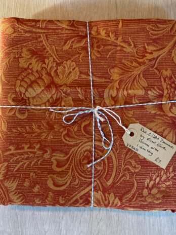 Fabric Remnant – Red & Gold Fired Earth Damask