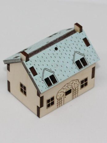 Katie Whittaker Pale Blue Roof Miniature Cabin